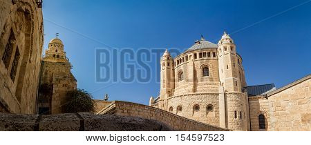 JERUSALEM, ISRAEL - OCTOBER 5: Exterior view of Dormition Abbey in Jerusalem, Israel on October 5, 2016