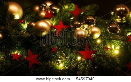 Advent decoration with red stars and christmas balls