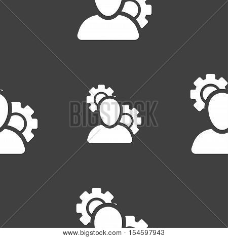 Profile Setting Icon Sign. Seamless Pattern On A Gray Background. Vector