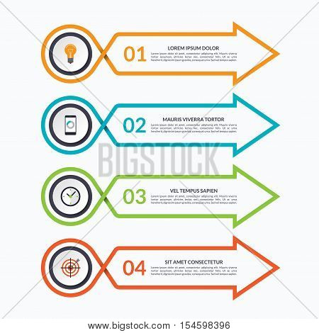 Infographic arrow design template with 4 options, steps, parts. Vector banner. Can be used for diagram, graph, chart, report, plan strategy, data visualisation, web design