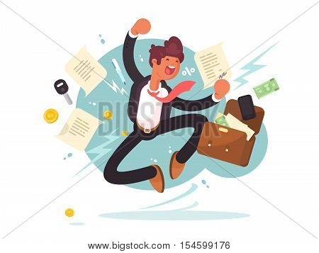 Successful businessman jumping for joy. Joyful man with briefcase of money and documents. Vector illustration