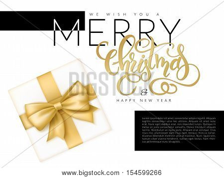 vector illustration of christmas banner with top view of gift with red ribbon and hand lettering word - christmas in black and gold color.