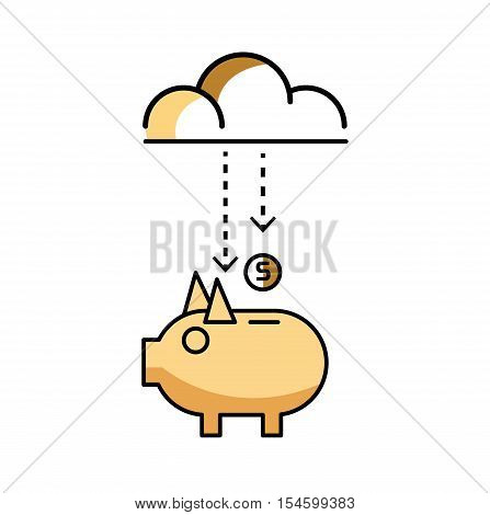 Piggy bank with stock of money and clouds. flat line design elements. vector illustration