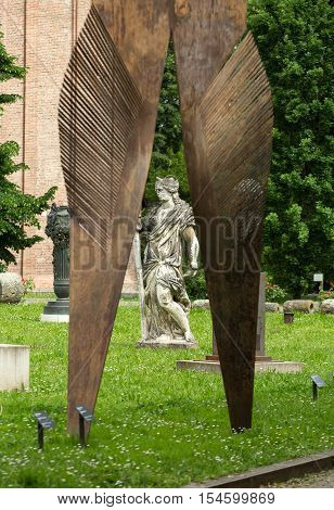 PADUA, ITALY - MAY3, 2016: The contemporary art in the garden Civic Museum of the Hermits. Padua Italy