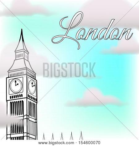 Illustration of London landmarks on a background of the sky - Big Ben