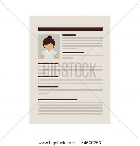 front document with woman curriculum vitae vector illustration