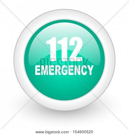 number emergency 112 round glossy web icon on white background