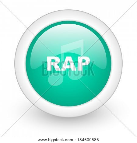 rap music round glossy web icon on white background