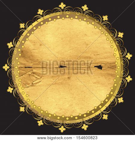 Round frame from old paper with gold trim on a black background. Isolated. Vector