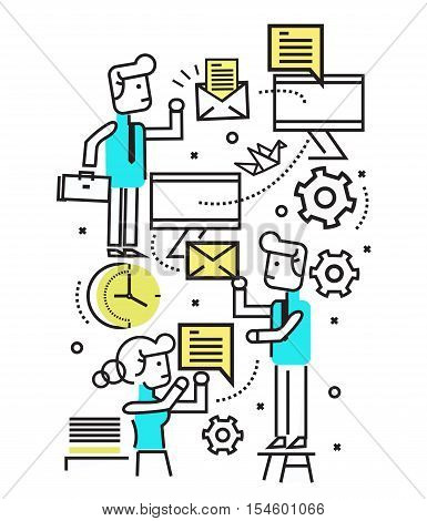 digital marketing email campaign newsletter and subscription system. flat line design elements. vector illustration