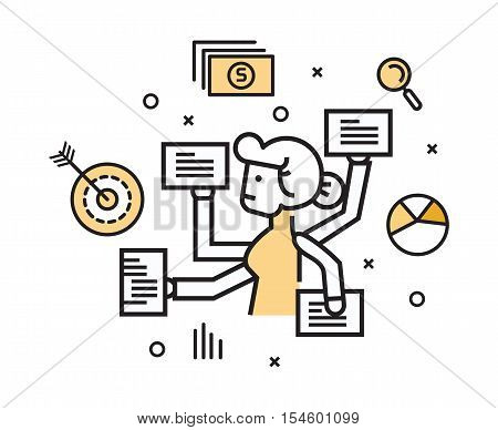 Businesswoman with multi tasking work. flat line design elements. vector illustration