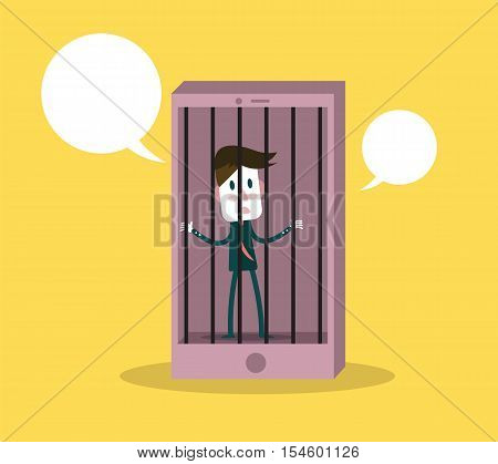 Man Has Been Detained In Phone Prison. Phone Addiction Concept. Flat Design Elements. Vector Illustr