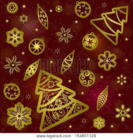 Seamless background pattern of gold christmas tree, christmas tree toys, snowflakes silhouettes on dark red background with hotspots. Suitable for wrapping paper. Vector illustration.