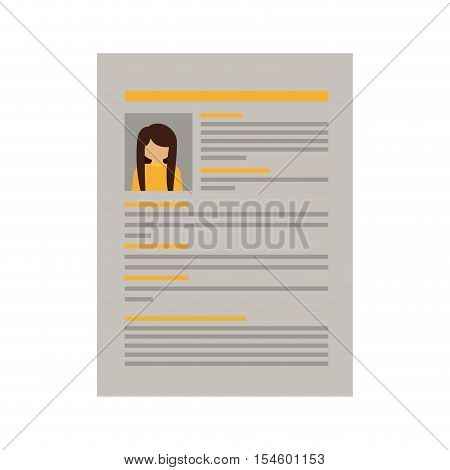 document with woman curriculum vitae vector illustration