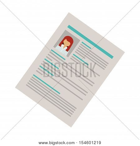right side document with woman curriculum vitae vector illustration