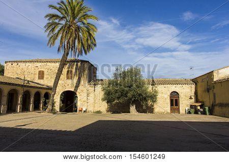SETTIMO SAN PIETRO, ITALY - October 22, 2016: Festival of Malvasia - Sardinia - inner courtyard of a house in Campidanese style