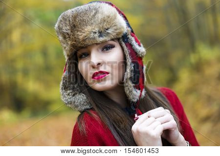 Beautiful Woman With A Russian Hat