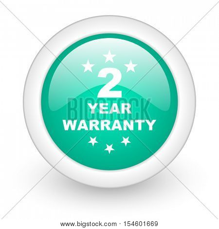 warranty guarantee 2 year round glossy web icon on white background