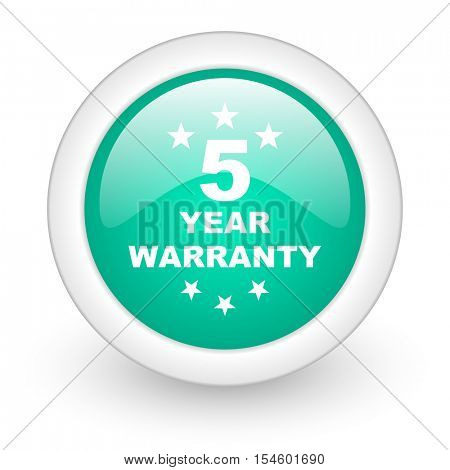 warranty guarantee 5 year round glossy web icon on white background