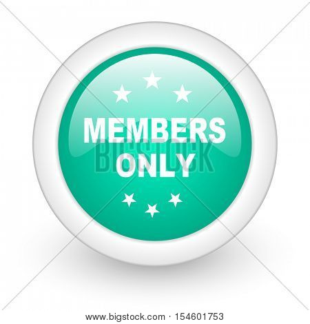 members only round glossy web icon on white background