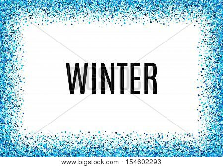 Abstract blue vector background. Bright navy indigo cyan glitter confetti. Cold frost winter snow dot spot