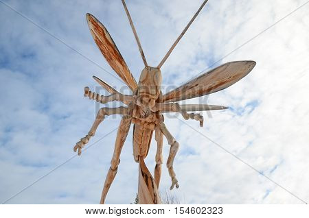 Irkutsk Region, Russia - Jan, 03 2015: Grasshopper. Park Of Wooden Sculptures In Savvateevka Village