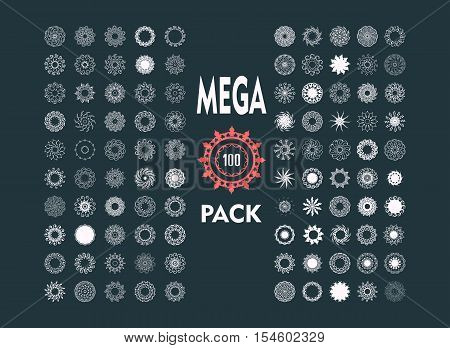 Decorative design elements set. Patterns with geometric ornaments. Circular ornamental symbols. Islam, Arabic, Indian, ottoman motifs. 100 vector spirographs