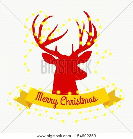 happy reindeer on the eve of New Year and Christmas lights in the horns with decorations like a Christmas tree. deer decorates glowing beads vector illustation