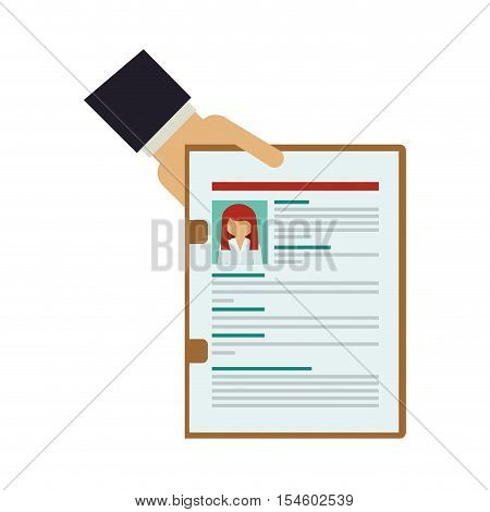 hand holding folder with curriculum vitae vector illustration