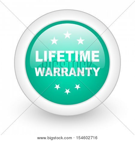 lifetime warranty round glossy web icon on white background