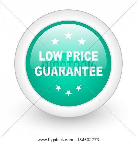 low price guarantee round glossy web icon on white background