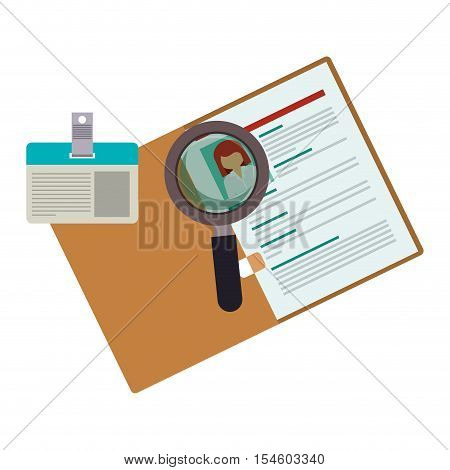 curriculum vitae with id card and magnifying glass vector illustration