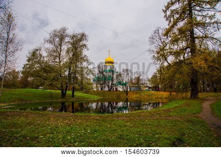 Pushkin, Saint-Petersburg, Russia. The Orthodox Church Feodorovsky sovereign's Cathedral in Tsarskoye Selo.A beautiful autumn landscape.