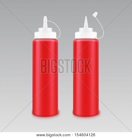 Vector Set of Blank Plastic White Red Tomato Ketchup Bottle for Branding without label Isolated on White Background
