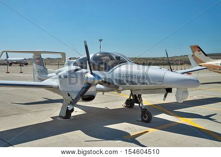 Gelendzhik Russia - September 10 2010: Diamond DA42 MPP GUARDIAN reconnaissance and surveillance plane parked on the apron of the airport