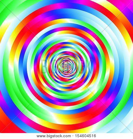Concentric Colorful Spiral W Random Circles. Abstract Circular Pattern.