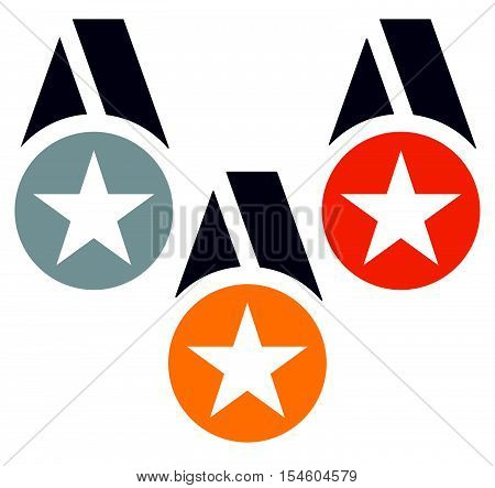Gold, Silver, Bronze Medals With Neckband / Ribbon - Flat Medal, Badge Icons W Stars