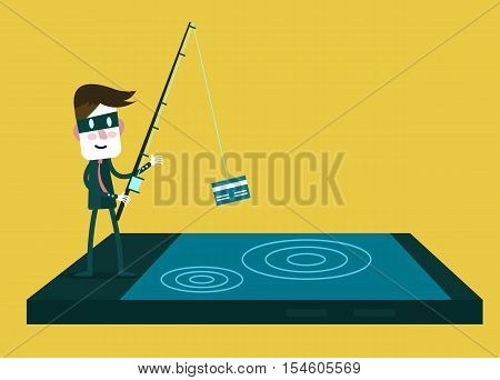 Thief Hacker Steal Your Data Credit Card And Money From Smartphone. Flat Character Design. Vector Il