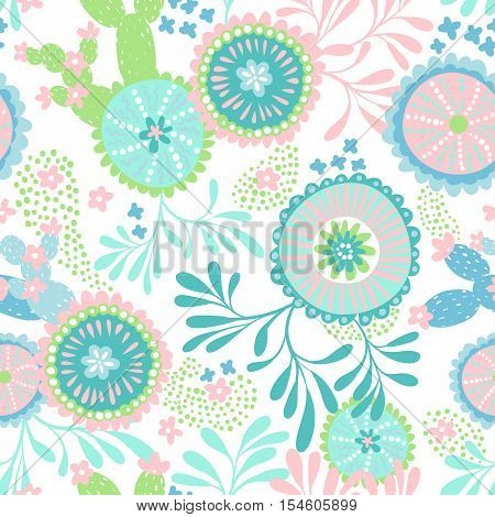 seamless vector coral pattern. Baby colors, primitive funny shapes of abstract sealife flowers, starfish, blossom. Gentle colors, editable pattern.