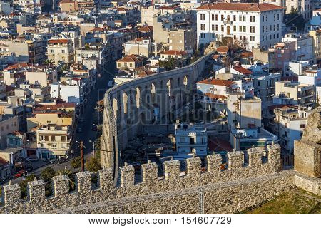 Amazing view from fortress to aqueduct in Kavala, East Macedonia and Thrace, Greece poster