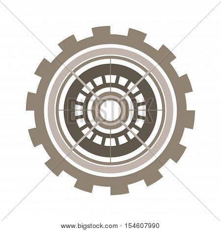 silhouette gear wheel with crown and pinion vector illustration
