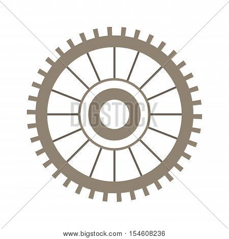 light brown silhouette gear wheel vector illustration
