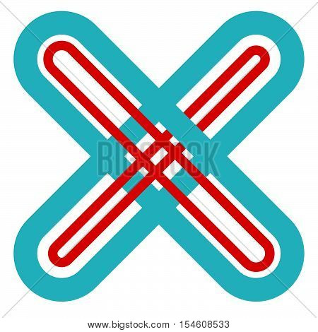 Abstract Cross, X Shape, Letter Symbol With Intersecting Lines With Colors Matching Medical Concepts