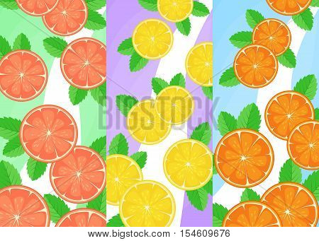 Vector Banner With Citrus. Three Banners With Lemon, Orange And Grapefruit. Food Design, Flyer. Citr