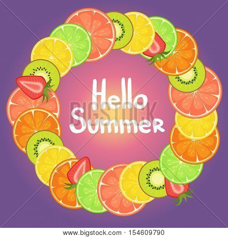 Hello Summer Vector Background Illustration With Citrus, Strawberry And Kiwi. Fresh Summer Backgroun