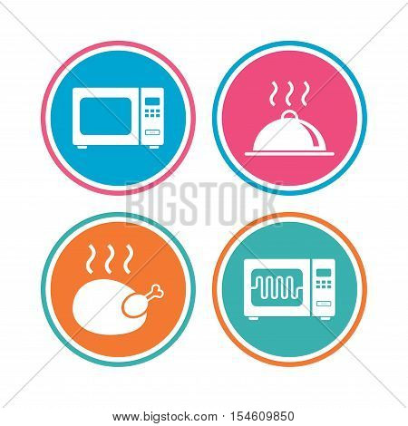 Microwave grill oven icons. Cooking chicken signs. Food platter serving symbol. Colored circle buttons. Vector