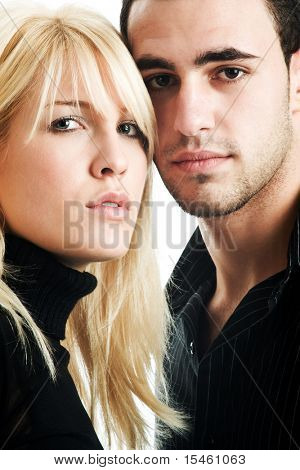 woman and man in dark shirts on white