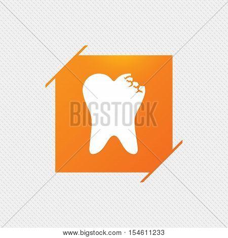Broken tooth icon. Dental care sign symbol. Orange square label on pattern. Vector