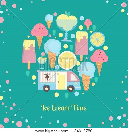 Ice cream bar in flat style. Ice cream van in flat style. Vector illustration in circle shape for bars restaurants menu.