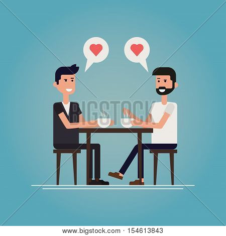 Gay first date concept vector illustration. Two guys meet in cafe after they met on a social network chatting smiling drinking coffee and winking to each other starting new relationship / romance.